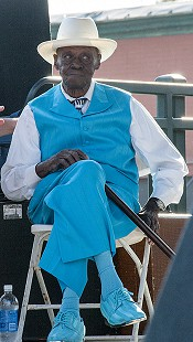Pinetop Perkins waits to perform at the Arkansas Blues and Heritage Festival; 2010 © Eric Gorder 2010; egorder@gmail.com