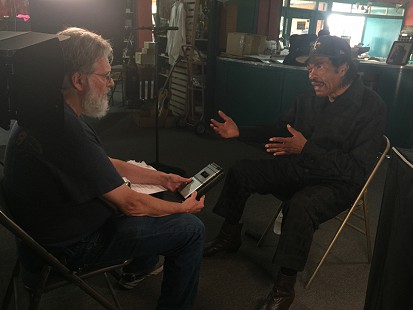 Don Wilcock interviews Bobby Rush at Bubba's Blues Corner during the King Biscuit Blues Festival; Helena, Arkansas, 2016 © Pryor Center for Arkansas Oral and Visual History, University of Arkansas