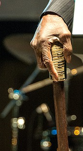 Detail of cane used by Pinetop Perkins; 2009 © Eric Gorder 2009; egorder@gmail.com
