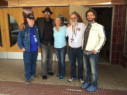 From left: Bubba Sullivan, Zac Harmon, Reba Russell, Don Wicock, and Matt Marshall at The Blues Symposium held at the historic Malco Theater on Cherry Street during the King Biscuit Blues Festival; Helena, Arkansas, 2015 © Pryor Center for Arkansas Oral and Visual History, University of Arkansas