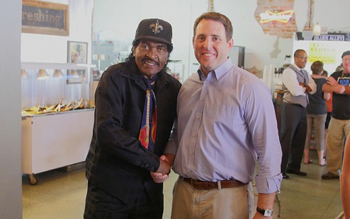Bobby Rush (left) with Scott Burton at the Bobby Rush Appreciation Day event, which was held at Southbound Pizza during the King Biscuit Blues Festival; Helena, Arkansas, 2016 © Pryor Center for Arkansas Oral and Visual History, University of Arkansas