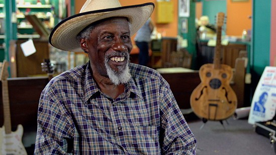Still frame from Pryor Center video interview with Robert Finley at Bubba's Blues Corner during the King Biscuit Blues Festival; Helena, Arkansas, 2016 © Pryor Center for Arkansas Oral and Visual History, University of Arkansas