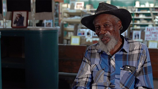 Still frame from Pryor Center video interview with Robert Finley at Bubba's Blues Corner; Helena, Arkansas, 2018 © Pryor Center for Arkansas Oral and Visual History, University of Arkansas