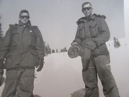 Bill Sutton (left) with friend, Corporal David Holly, during winter training in the US Marine Corps, Pickle Meadows, California, 1959 © Pryor Center for Arkansas Oral and Visual History, University of Arkansas